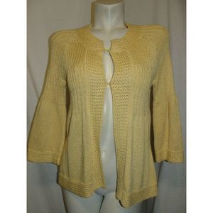 Yellow Knit 3/4 Bell Sleeve Hook & Eye Cardigan